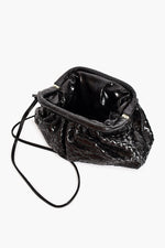 Plait Pleat Top Frame Handbag (Black)