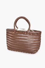 Vegan Leather Plait Tote (Chocolate)