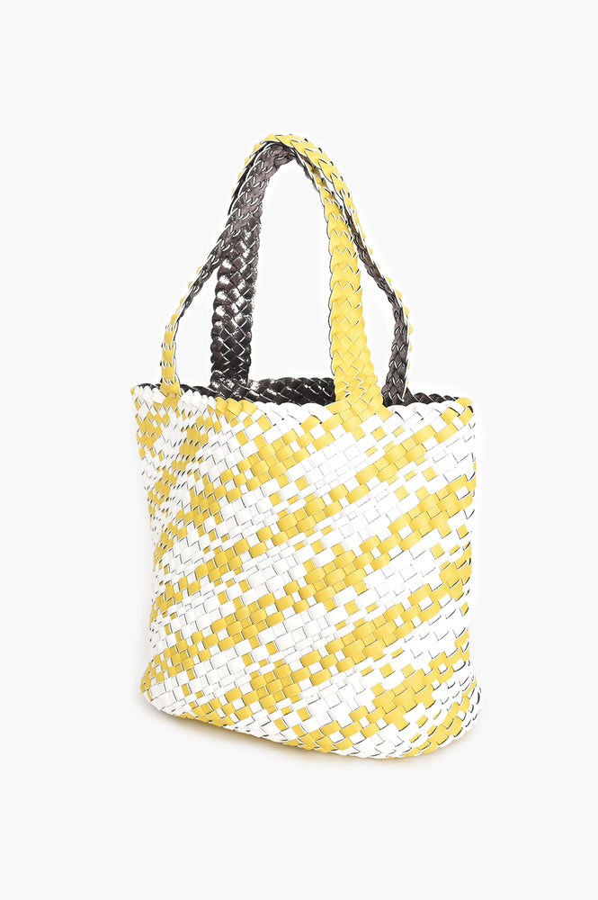 Two Tone Plait Tote (Yellow)