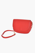 Curved Flap Over Small Bag Chain Handle (Red)