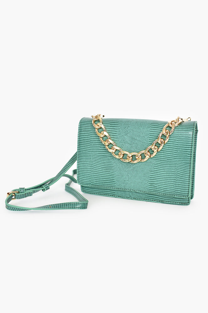 Reptile Flap Over Small Bag Chain Handle (Green)