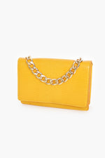 Reptile Flap Over Small Bag Chain Handle (Yellow)