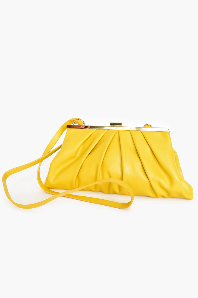 Pleat Front Clutch Bag (Yellow)