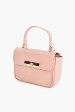 Toggle Front Croc Small Box Bag (Pink)