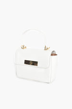 Toggle Front Croc Small Box Bag (White)