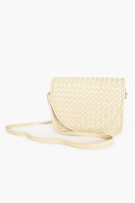 Plait Curved Fold Over Small Bag (Camel)