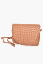 Plait Curved Fold Over Small Bag (Tan)