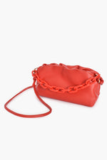 Pleated Puff Small Bag Resin Chain Handle (Red)