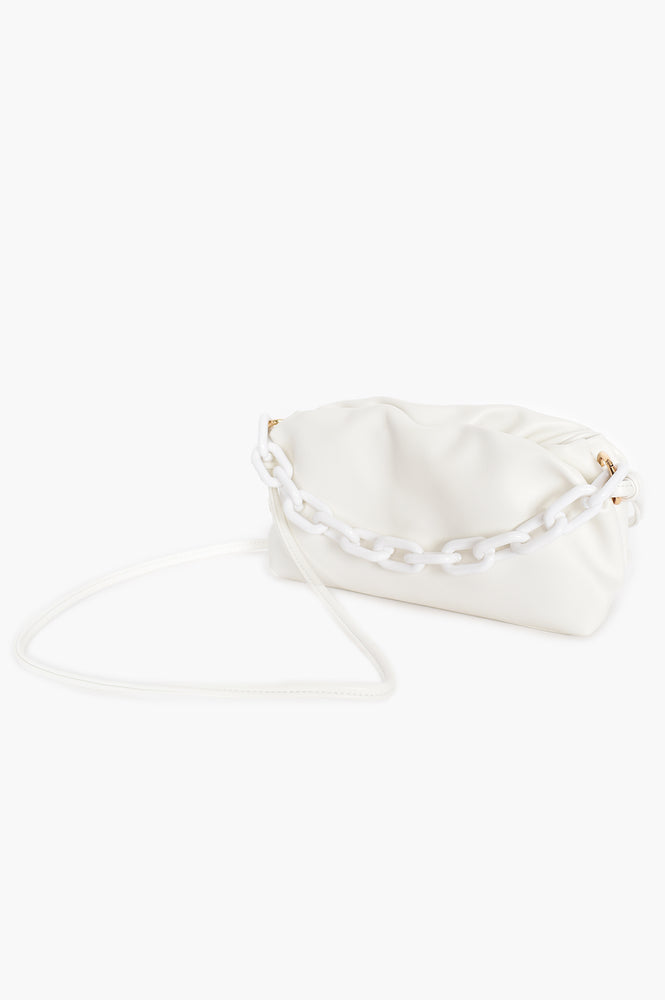 Pleated Puff Small Bag Resin Chain Handle (White)