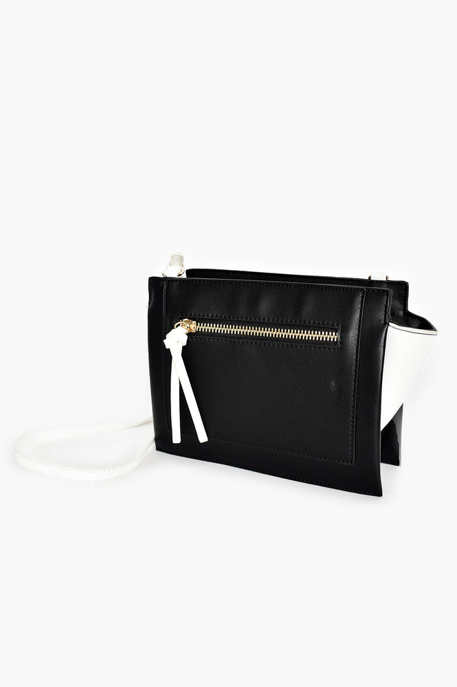 Zip Front Angle Side Two Tone Bag (Black/White)