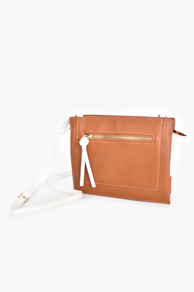 Zip Front Angle Side Two Tone Bag (Tan/White)