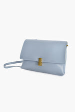 Flap Over Gold Clasp Soft Bag (Blue)