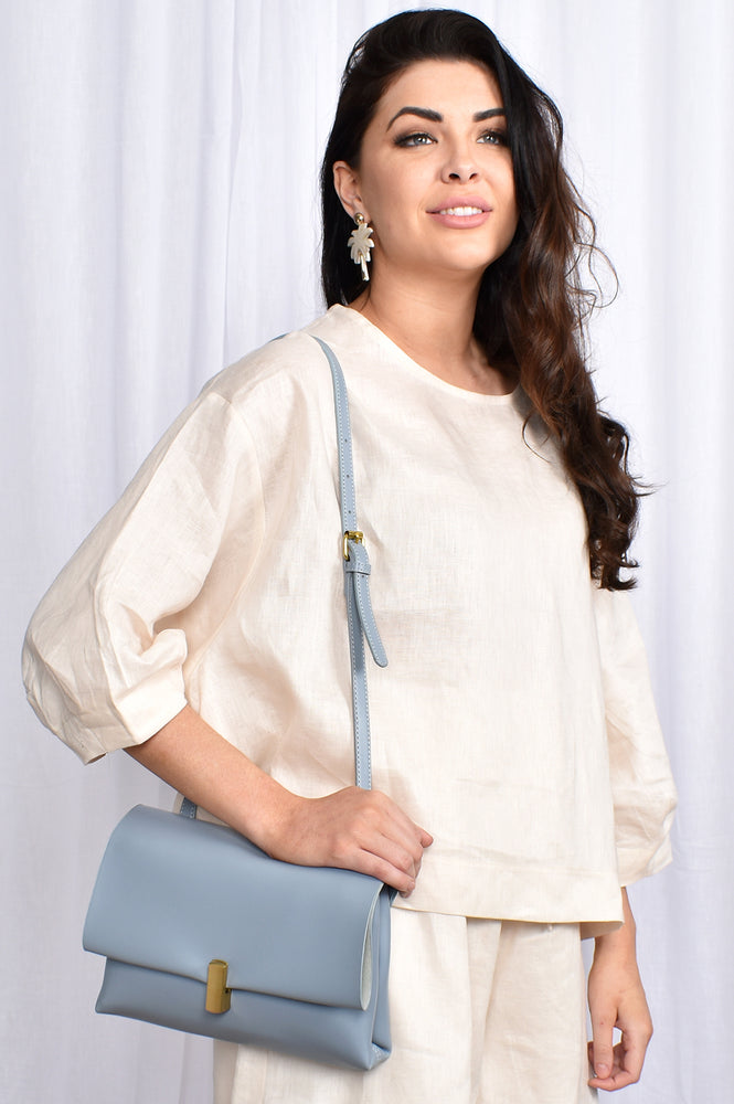 Flap Over Gold Clasp Soft Bag (Cream)