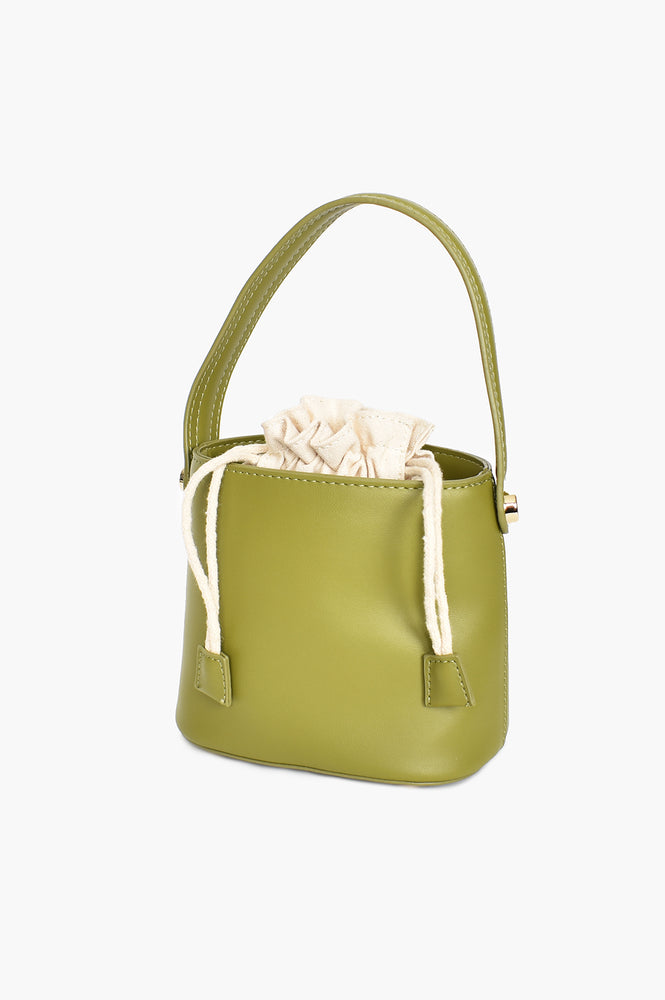 Drawstring Mini Bucket Bag (Green)