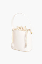 Drawstring Mini Bucket Bag (White)