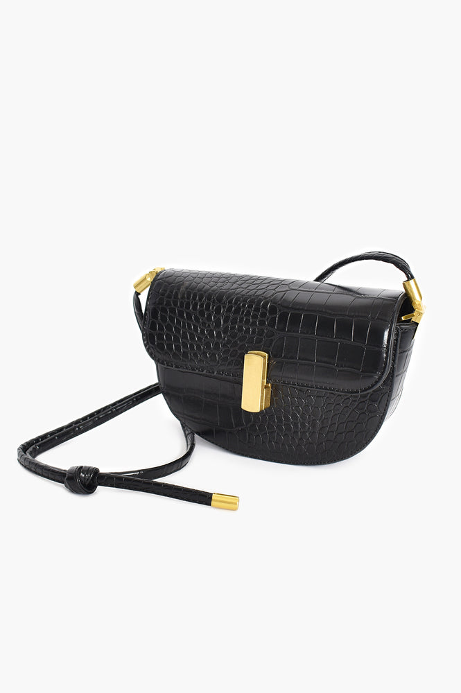 Croc Curved Gold Clasp Small Bag (Black)