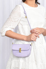 Croc Curved Gold Clasp Small Bag (Lilac)