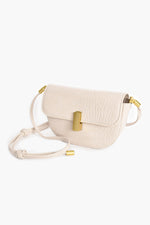 Croc Curved Gold Clasp Small Bag (Nude)