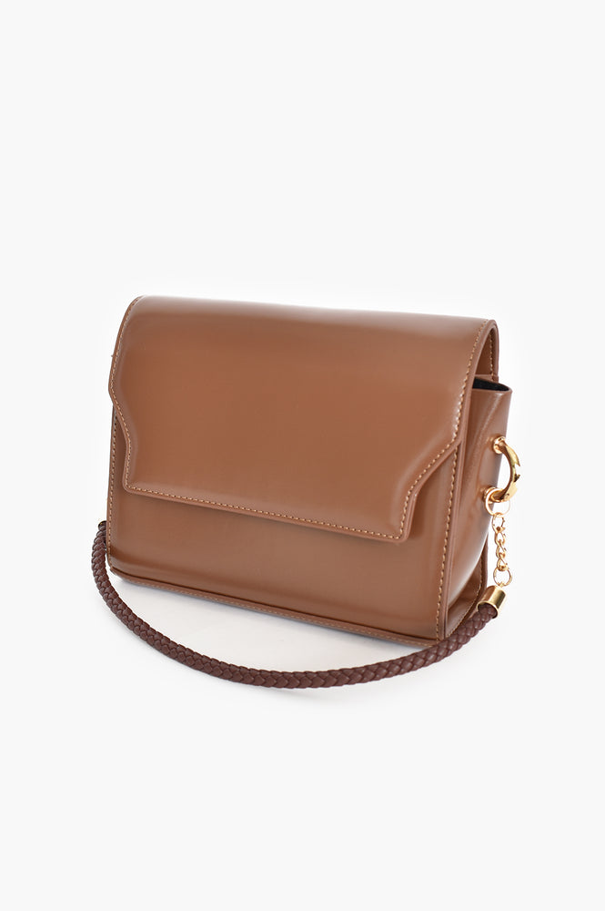 Rectangle Flap Over Bag Plaited Handle (Choc)