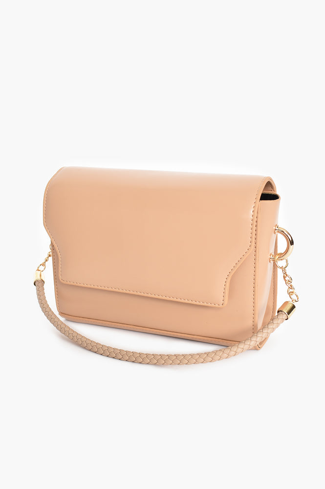 Rectangle Flap Over Bag Plaited Handle (Nude)