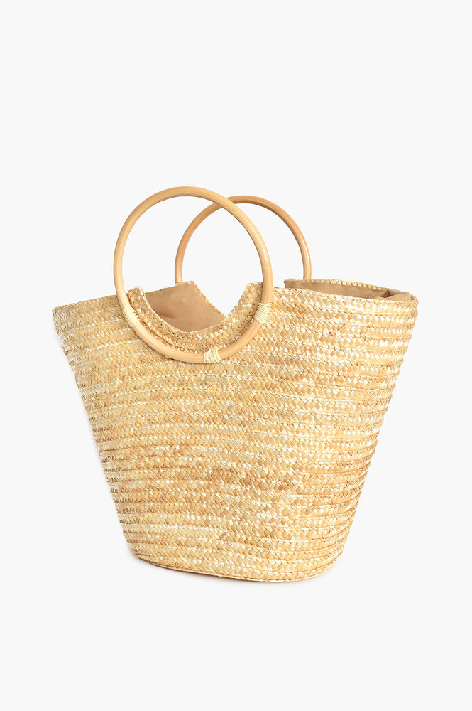 Straw Bamboo Handle Basket (Natural)