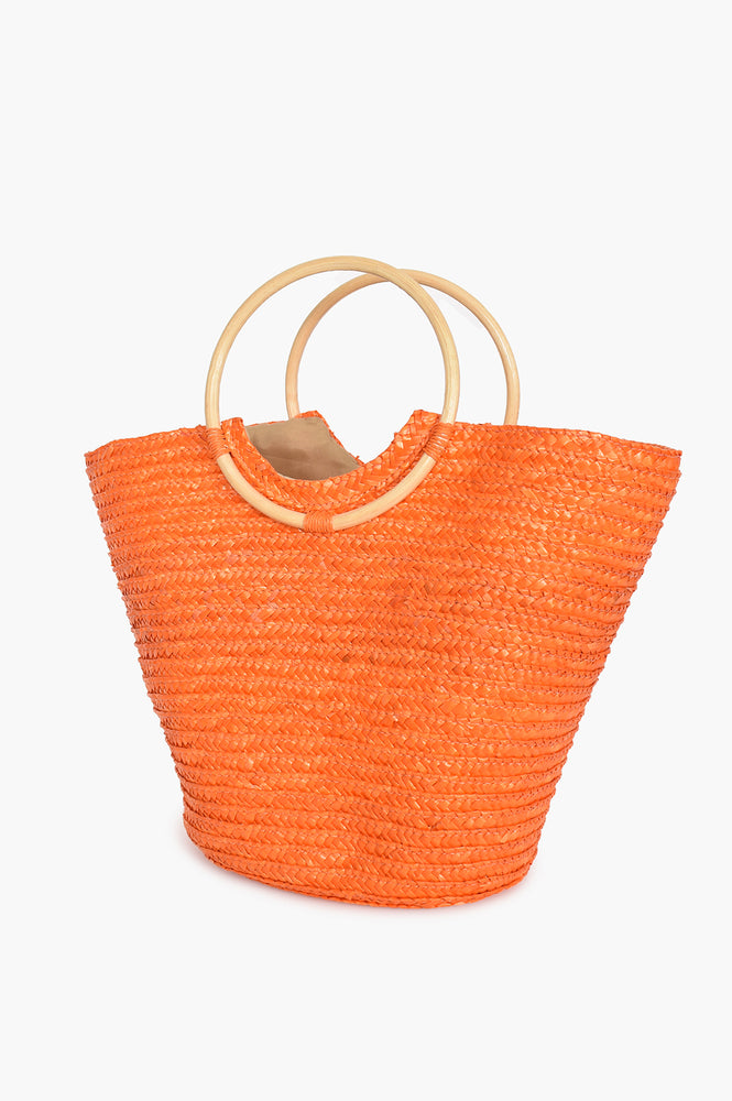 Straw Bamboo Handle Basket (Orange)