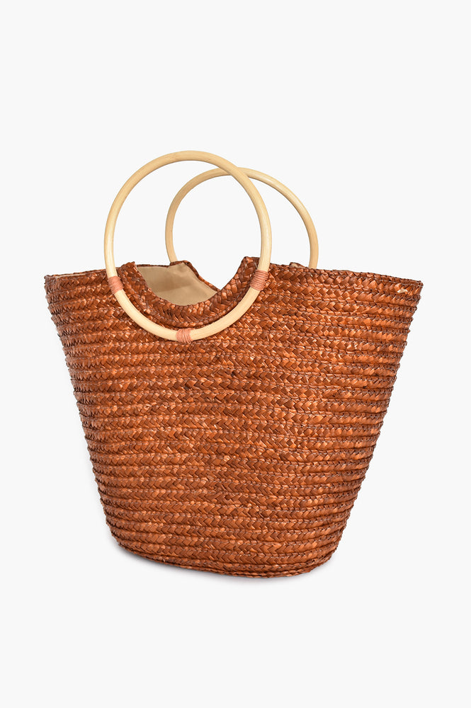 Straw Bamboo Handle Basket (Tan)