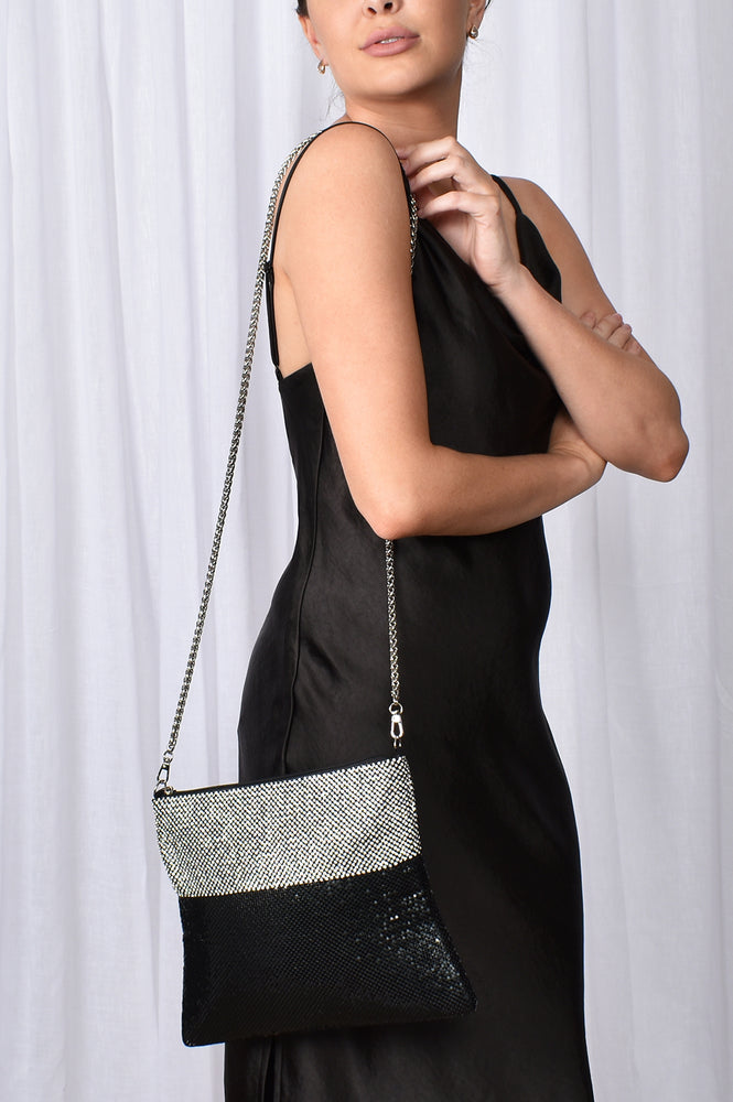 Mesh and Diamante Slouch Bag (Black/Crystal)
