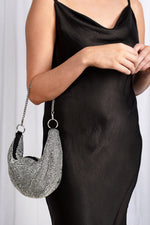 Diamante Curved Chain Handle Bag (Crystal)