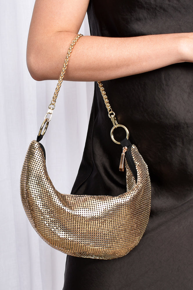 Mesh Curved Chain Handle Bag (Gold)