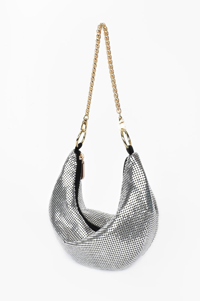 Mesh Curved Chain Handle Bag (Silver)