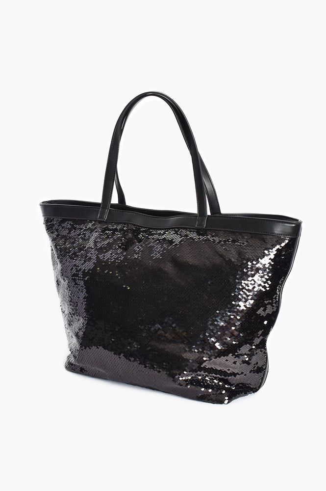 Sequin Trim Large Tote (Black)