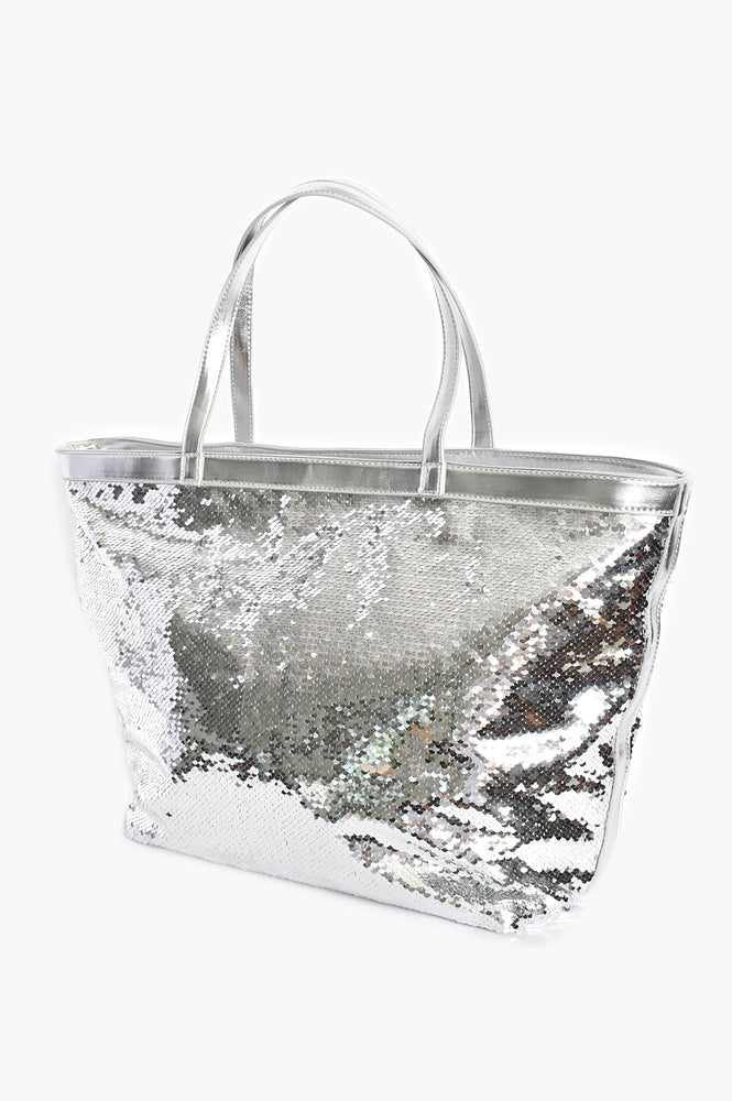 Sequin Trim Large Tote (Silver)