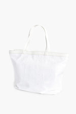 Sequin Trim Large Tote (White)