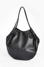 Vegan Leather Gathered Tote (Black)