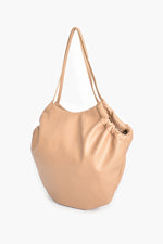 Vegan Leather Gathered Tote (Camel)
