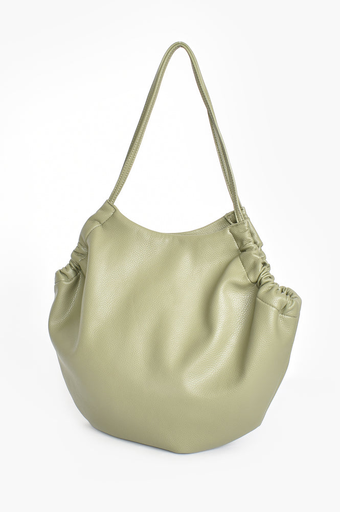Vegan Leather Gathered Tote (Sage)