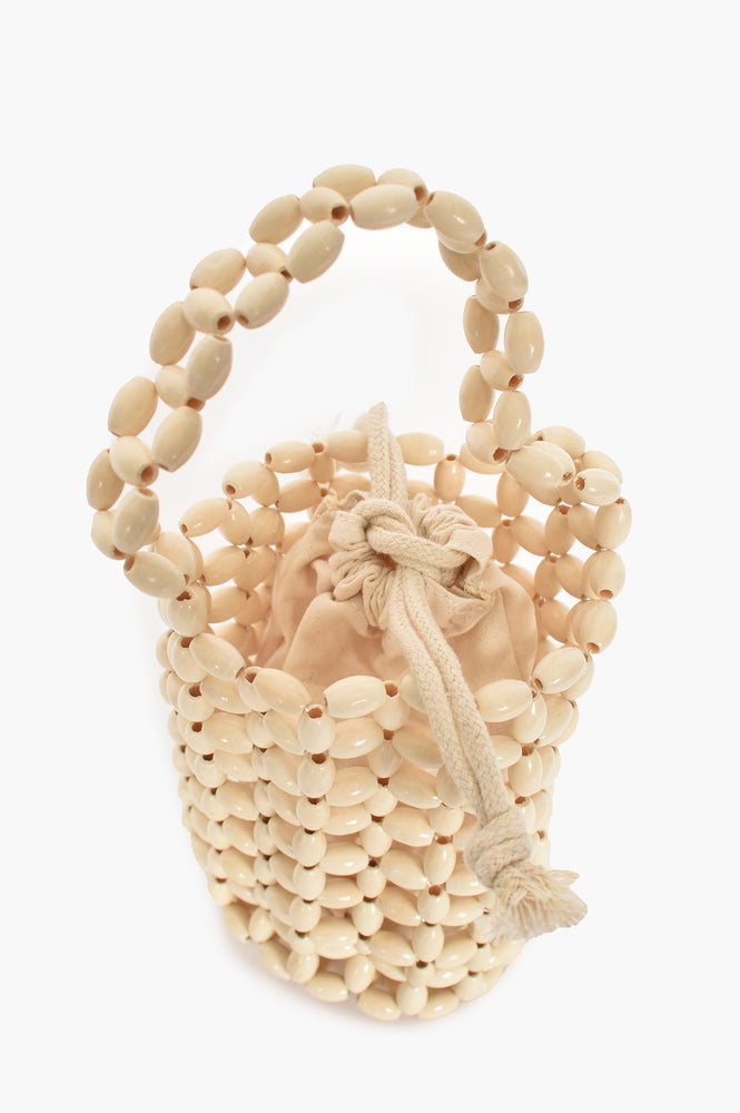 Weekend Vibes Mini Timber Bead Bag (White)