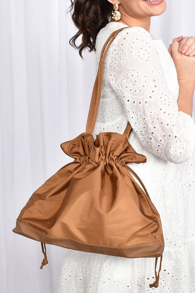 Nylon Drawstring All Purpose Tote (Tan)