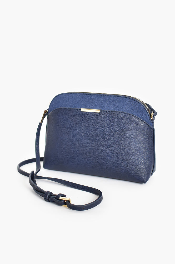 Cynthia Curved Top Crossbody Bag (Navy)