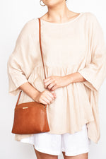 Cynthia Curved Top Crossbody Bag (Tan)