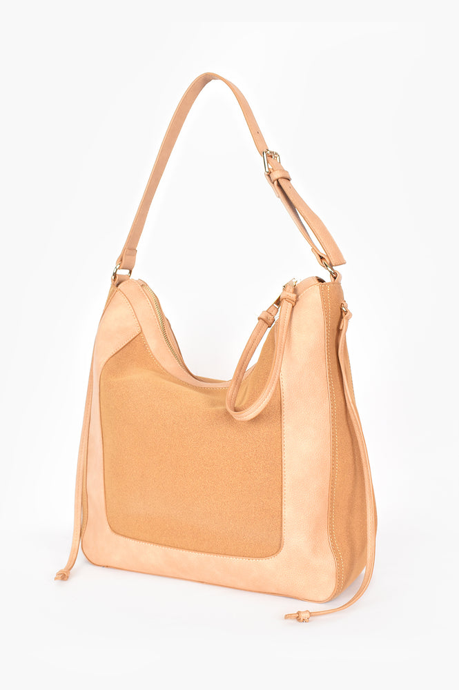 Mabel Panelled Shoulder Bag (Camel)