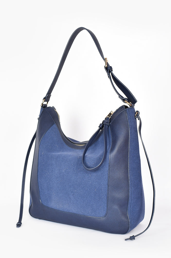Mabel Panelled Shoulder Bag (Navy)