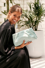 Carmel Pleat Top Crossbody Bag (Mint)
