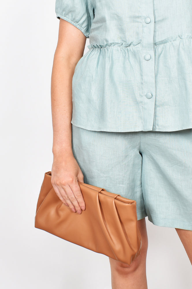 Carmel Pleat Top Crossbody Bag (Stone)