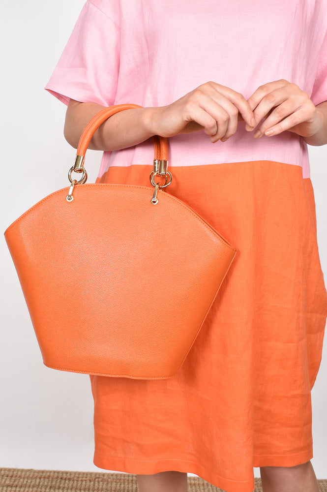 Miranda Curved Top Tote (Orange)