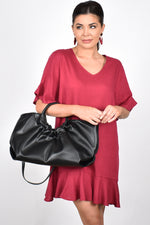 Felicity Gathered Tote (Black)