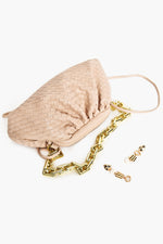 Plait Statement Chain Handle Small Bag (Mocha/Gold)