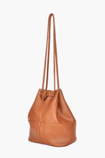 Patchwork Stitched Drawstring Bag (Tan)