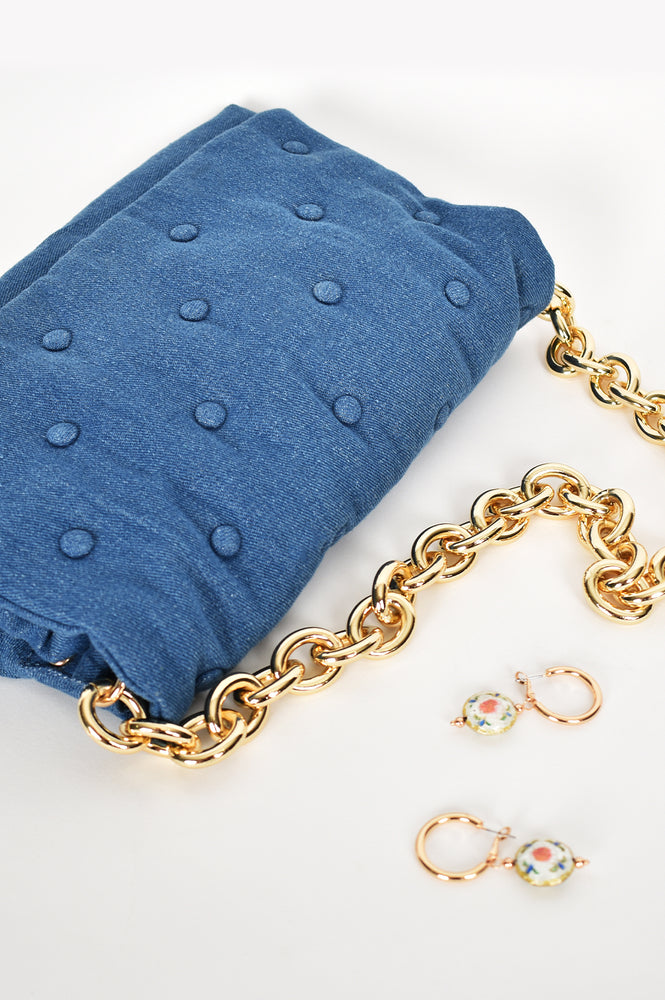 Mina Button Shoulder Bag (Denim)